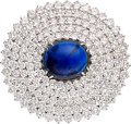 Estate Jewelry:Brooches - Pins, Sapphire, Diamond, Platinum, Gold Brooch. ...