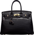 "Luxury Accessories:Bags, Hermès 35cm Matte Black Niloticus Crocodile Birkin Bag with Gold Hardware. K Square, 2007. Condition: 2. 14"" Width..."