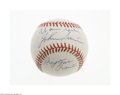 Autographs:Baseballs, Warren Spahn & Johnny Sain Signed Baseball. Blue sweet spotsignatures from each are in perfect ink, as is the inscription ...