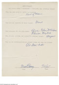 Autographs:Letters, 1965 Max Carey Handwritten Questionnaire. The Hall of Fame Piratetells a young fan about his greatest baseball thrill, his...