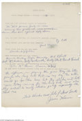 Autographs:Letters, 1965 Jesse Haines Handwritten Questionnaire. The Hall of FameCardinal tells a young fan about his greatest baseball thrill...