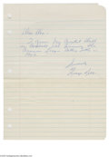Autographs:Letters, 1960's George Kell Handwritten Letter. The Football Hall of Famerrecounts his greatest professional thrill for a young aut...