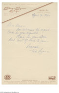 Autographs:Letters, 1964 Ted Lyons Handwritten Letter. Handwritten letter in reply toan autograph request is penned entirely in Lyons' 10/10 b...