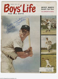 "Autographs:Others, Mickey Mantle Signed Magazine. August 1959 issue of ""Boys' Life"" issigned on the cover by Mantle in 10/10 blue sharpie. M..."