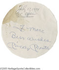 "Autographs:Others, 1974 Mickey Mantle Autograph. Inscription on a round piece ofnotepaper (3.5"" diam.) is dated to within a month of Mickey's..."