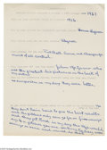 Autographs:Letters, 1960's Rube Marquard Handwritten Questionnaire. The Hall of Famepitcher tells a young fan about his greatest baseball thri...