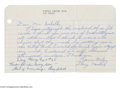 Autographs:Letters, 1964 Ray Schalk Handwritten Note. Brief note is in response to a youngster's autograph request, and is signed by Schalk at ...