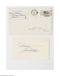 Autographs:Index Cards, 1965 Zack Wheat Signed Index Card & Envelope. Perfect 10/10 blue ink signature on an index card is accompanied by the origi...