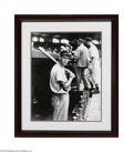 "Autographs:Photos, Ted Williams Signed 16"" x 20"" Signed UDA B/W Photo. Signed boldlyin 10/10 blue sharpie, this early-career image of Ted Will..."