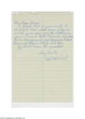 Autographs:Letters, 1960's Joe Wood Handwritten Letter. The Hall of Famer advises ayoung autograph collector on how to reach Bob Meusel, Rube ...