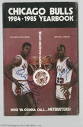 Basketball Collectibles:Others, 1984-85 Michael Jordan Signed Chicago Bulls Yearbook. Very early signature from Jordan is a perfect 10/10 blue sharpie beau...