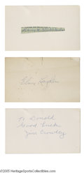 """Football Collectibles:Others, Three of the """"Four Horsemen"""" of Notre Dame Autographs. 1) Jim Crowley personalized blank index card. 2) Elmer Layden blank..."""