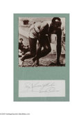 "Autographs:Index Cards, Jesse Owens Signed Index Card. Fine 10/10 ink inscription reads ""My Sincere Wishes, Jesse Owens."" Framed with magazine pho..."