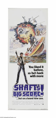 """Shaft's Big Score! (MGM, 1972) Insert (14"""" X 36""""). This is a vintage, theater used poster for this action sequ..."""
