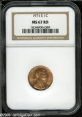 Lincoln Cents: , 1971-S 1C MS67 Red NGC. ...