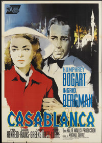 "Casablanca (United Artists, R-1962). Italian 4 - Folio (55"" X 78""). Drama"