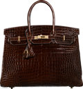 "Luxury Accessories:Bags, Hermès 35cm Shiny Chocolate Porosus Crocodile Birkin Bag with Gold Hardware. P Square, 2012. Condition: 2. 14"" Wid..."