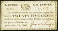 Obsoletes By State:New Hampshire, Alton, NH- Jones & Sawyer 25¢ Oct. 18, 1862 Fine-Very Fine.. ...