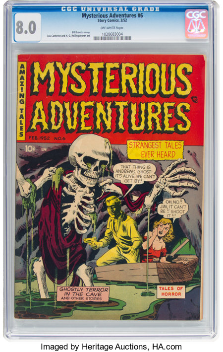 Mysterious Adventures #6 (Story Comics, 1952) CGC VF 8.0 Off-white pages....