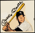 Autographs:Post Cards, c. 1960s Mickey Mantle Signed Sticker Sheet....