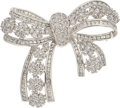 Estate Jewelry:Brooches - Pins, Diamond, Platinum, White Gold Pendant-Brooch. ...