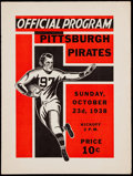 Football Collectibles:Programs, 1938 Pirates vs. Packers Program....
