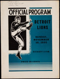 Football Collectibles:Programs, 1935 Packers vs. Lions Program - Rookie Don Hutson 7th Career Touchdown, Lions Championship Season....