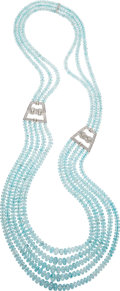 Estate Jewelry:Necklaces, Aquamarine, Diamond, White Gold Necklace . ...
