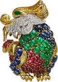 Estate Jewelry:Brooches - Pins, Colored Diamond, Diamond, Ruby, Emerald, Sapphire, Platinum, Gold Brooch, David Webb . ...