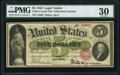 Large Size:Legal Tender Notes, Fr. 61a $5 1862 Legal Tender PMG Very Fine 30.. ...