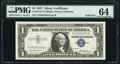 Small Size:Silver Certificates, Fr. 1619 $1 1957 Silver Certificate. Solid Serial Number 55555555. PMG Choice Uncirculated 64.. ...