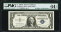 Small Size:Silver Certificates, Fr. 1620 $1 1957A Silver Certificate. 10 Million Serial Number. PMG Choice Uncirculated 64 EPQ.. ...