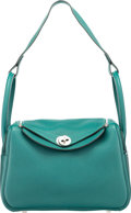 "Luxury Accessories:Bags, Hermès 26cm Malachite Clemence Leather Lindy Bag with Palladium Hardware. A, 2017. Condition: 2. 10"" Width x 7.5"" ..."