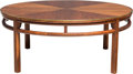 Furniture : American, An American Walnut and Brass Trimmed Coffee Table, circa 1960.15-3/4 x 38 inches (40.0 x 96.5 cm). ...
