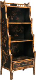 Furniture , An English Chinoiserie Lacquered Bookcase Étagère, 20th century. 47-3/4 x 21-1/4 x 15 inches (121.3 x 54.0 x 38.1 cm). ...