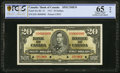 Canadian Currency, BC-25s $20 2.1.1937 Specimen PCGS Gold Shield Grading Gem UNC 65 OPQ.. ...