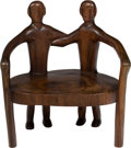 Furniture , A Large Carved Hardwood Figural Throne Chair, circa 1960. 41 x 39 x 26 inches (104.1 x 99.1 x 66.0 cm). PROPERTY FROM THE ...