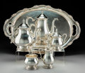 Silver Holloware, American:Tea Sets, A Five-Piece International Silver Co. Prelude Pattern SilverTea and Coffee Service with Associated Tray, Meride... (Total: 6Items)