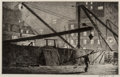 Fine Art - Work on Paper:Print, Martin Lewis (American, 1881-1962). Derricks at Night, 1927.Etching with drypoint on laid paper. 7-7/8 x 11-7/8 inches ...