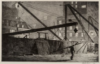 Martin Lewis (American, 1881-1962) Derricks at Night, 1927 Etching with drypoint on laid paper 7-