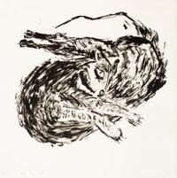 Susan Rothenberg (b. 1945) Twisted Cat, 2008 Lithograph on Hahnemuhle German Etching paper 14 x 1