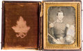 Photography:Daguerreotypes, Exquisite Quarter Plate Daguerreotype of a Young American Officer Circa 1852/3, Untouched/ Uncleaned. ...