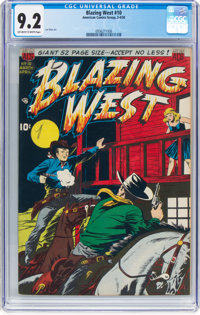 Blazing West #10 (ACG, 1950) CGC NM- 9.2 Off-white to white pages
