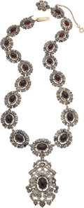 Estate Jewelry:Necklaces, Garnet, Diamond, Silver-Topped Gold Necklace. ...