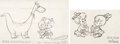 animation art:Model Sheet, The Flintstones Pebbles, Bamm-Bamm, and Dino Size Comparison Model Sheet Drawings Group of 2 (Hanna-Barbera, c. 1960s)... (Total: 2 Items)