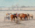 Fine Art - Painting, American, Jack Bryant (American, 1929-2012). Checking the Herd. Oil oncanvas. 16 x 20 inches (40.6 x 50.8 cm). Signed lower left:...