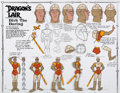 animation art:Model Sheet, Dragon's Lair Dirk the Daring Model Sheet Cel (Don Bluth,1983)....