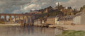 Fine Art - Work on Paper, Samuel Colman (American, 1832-1920). Dinan, Brittany.Watercolor on paper. 9 x 20-1/2 inches (22.9 x 52.1 cm) (sheet)....