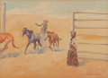 Works on Paper, Leonard Howard Reedy (American, 1899-1956). Corralling Mustangs. Watercolor on paper. 7-1/2 x 10-1/2 inches (19.1 x 26.7...