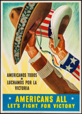 "Movie Posters:War, World War II Propaganda (U.S. Government Printing Office, 1943). OWI Poster No. 65 (20"" X 28"") ""Americans All - Let's Fight ..."